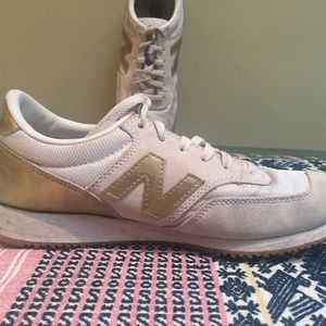 New Balance Gold and white sneaker